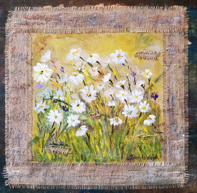 Wild flowers and burlap